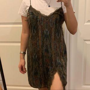 Grey Patterned lace trim dress